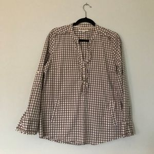 BANANA REPUBLIC CHECKERED HALF BUTTON DOWN SHIRT